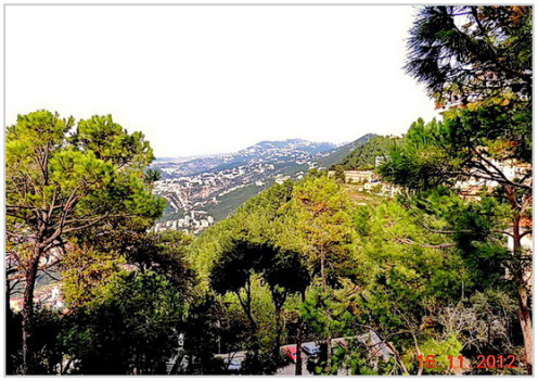 A beautiful view of the mountains of Jounieh shot from the shrine of our lady