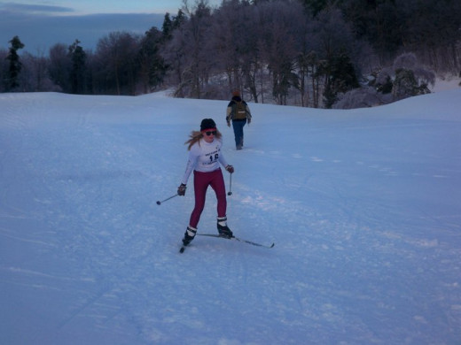 One of my granddaughters getting ready to ski.