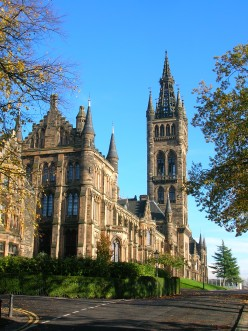 The University of Glasgow, main building and tower, Scotland