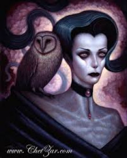 The female demon Lilith with a screech owl.