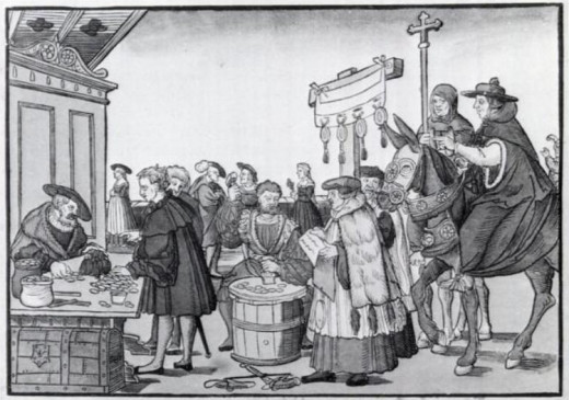 The sale of indulgences shown in A Question to a Mintmaker, woodcut by Jörg Breu the Elder of Augsburg, ca. 1530.