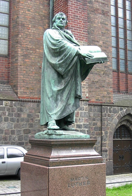 Statue of Martin Luther outside St. Mary's Church, Berlin