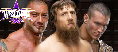 Who would win in the triple threat WrestleMania 30 main event between Randy Orton, Batista and Daniel Bryan?