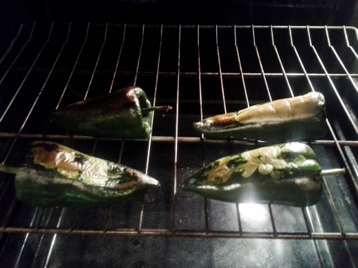 Step Three: You want the skin on your chiles to scorch, turn black and blister so you can easily remove it