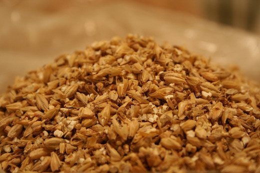 Beer is made with four main ingredients: Water, Yeast, Barley and Hops. This photo illustrates the dry ingredients of beer.
