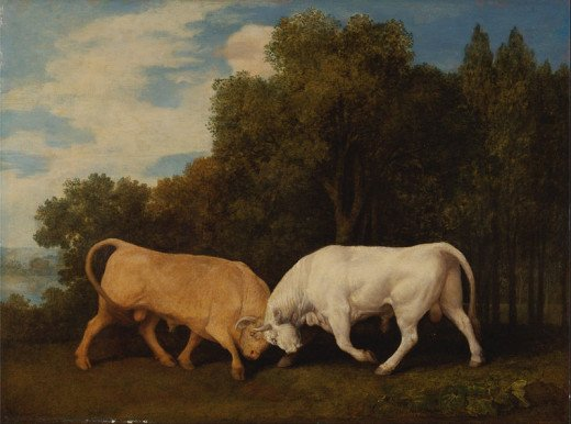 """Bulls Fighting"" - oil on panel - by George Stubbs"
