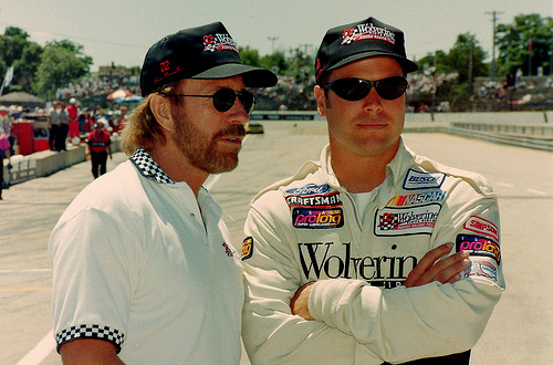 Chuck Norris and son Eric 1997: NASCAR Photography Darryl W Moran
