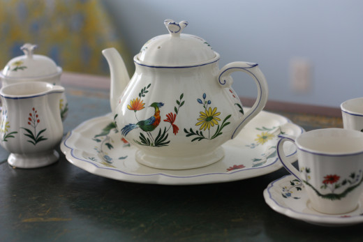 A traditional porcelain tea set.