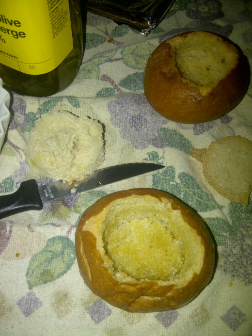 The finished bread bowl awaiting a thick brothed, cream-based, or cheese soup.