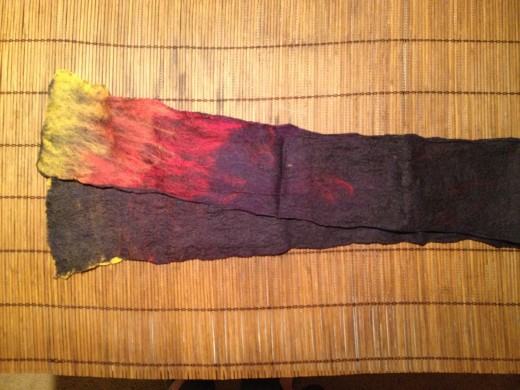 A wet felted scarf