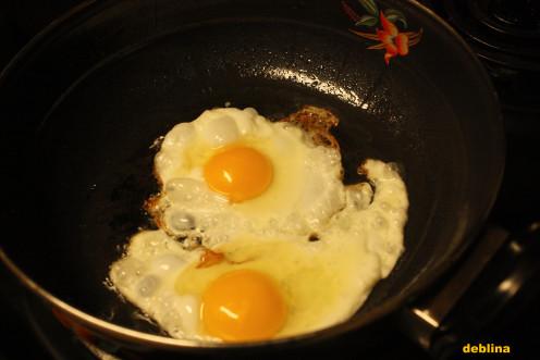 Poach 2 eggs first.