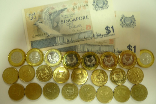 "1st Row: S$1 note discontinued since late 1980s 2nd Row:S$1 coin issued 2013 ""smiling' face 3rd Row S$1 coin issued 1980s 'smiling' face 4th Row S$1 coin ' frowning' face discontinued"