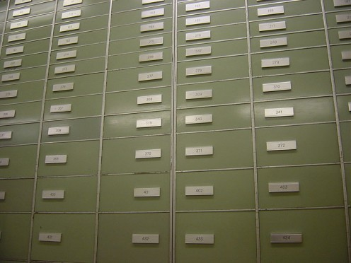 Safe deposit boxes inside the vaults of a Swiss bank.