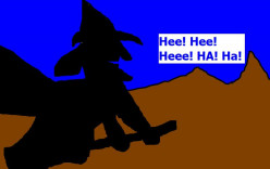 The witch riding her broom.