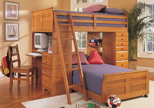 A more simpler approach, wooden bunk beds for children.
