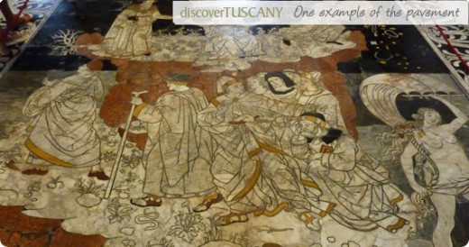 Example of marble mosaic floor in Duomo