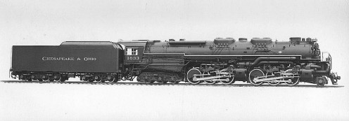"Chesapeake and Ohio's 2-6-6-6 ""Allegheny"" locomotive, built between 1941 - 1948."