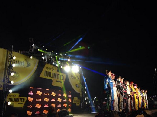 NASCAR's drivers at introduction for Saturday night's Sprint Unlimited kickoff race