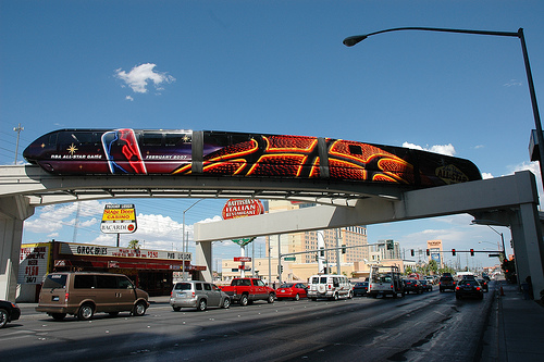 Advertising vinyl wrap on Las Vegas monorail