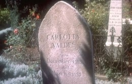 The (very much fake) grave of Madeleine Elster's great-grandmother, Carlotta Valdes, in the Mission Dolores cemetery, San Francisco. Note: This grave was added especially to the cemetery for the film and is no longer there.