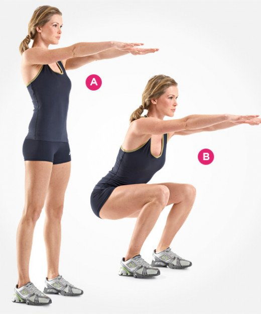 Demonstration of the Squat - Starting Position 1 and Ending Position 2 with Pretty Girl in Fitness Gear