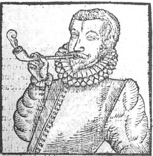 One of the earliest images of a European smoking tobacco.