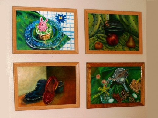 Finished display of art student paintings. Oil on paper, 14 x 21 in.