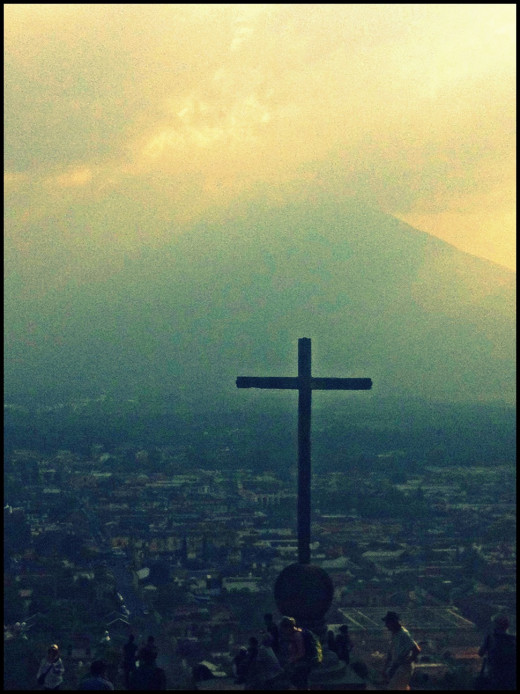 The cross on the hill watching over Antigua