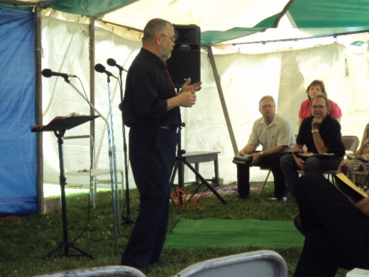 Doc Van preaching tent revival in Moraine, Ohio