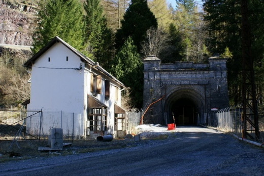 The Trans-Pyrenean railway tunnel at Canfranc today, currently used for access to the Underground Laboratory