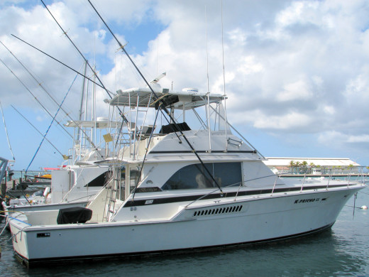 Fishing charters line the docks at the Aruba cruise port. Credit: Scott Bateman