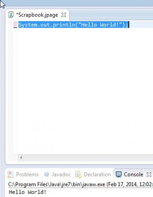 This is a JAVA statement. In the case of statements, select Run followed by Execute.