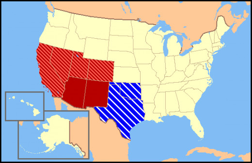 """The Dark Red states mean they are almost always considered Southwest states, The light red states mean they are rarely considered Southwest states and the Blue States mean they are considered Southwest and Southern states."""