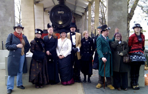 My friends and I standing in front of a steam train in London while I studied abroad and researched 'Steampunk.'