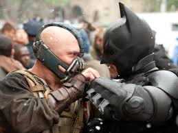 Christian Bale's Batman takes on Tom Hardy's Bane in The Dark Knight Rises