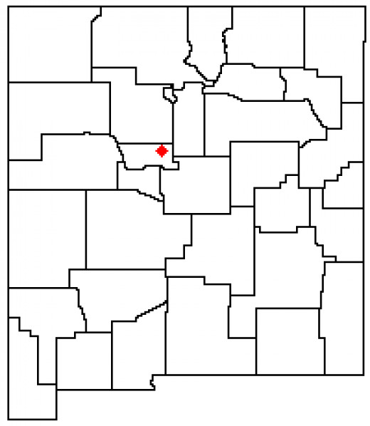 Location of the Sandia Mountains within New Mexico.