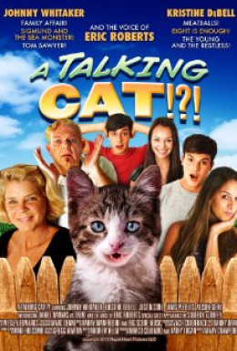 """A Talking Cat!?"" DVD cover. Take note, the cat in this picture is NOT the same cat that appears in the movie."