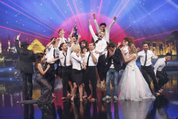 Jennifer Grout is celebrating with the winners of the competition on Arabs Got Talent, where she won runner-up (2013).