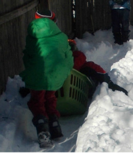 "With snow on the ground, kids can race in a bobsled relay on a ""track."""