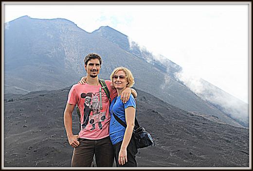 Looking up at Volcan Pacaya