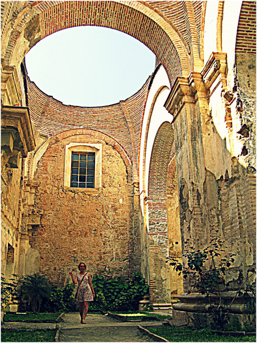 What was part of the main cathedral is now an open garden after a roof collapse.