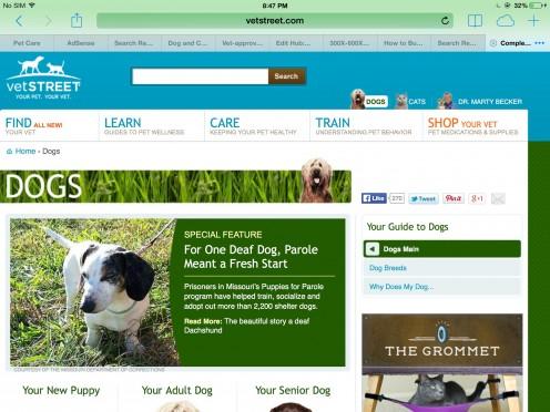 Screenshot of the Vetstreet website