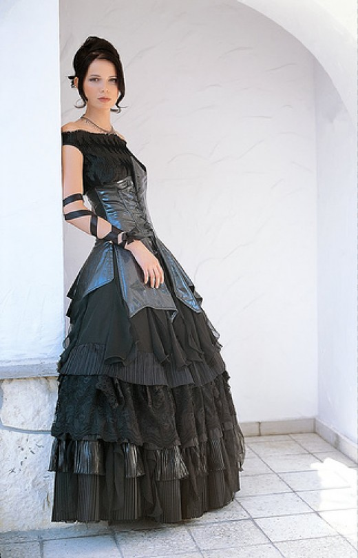 Here is a nice all black gothic wedding dress This makes wonderful use of a