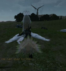 Lightning will make the Angel of Valhalla stronger. When this happens, the white chocobo can fly, for a very short period of time. And the bandages around the wings are off, making the bird look much better.
