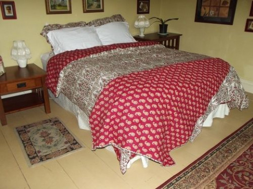 Warm bedding makes a house feel warmer at night and each of the rooms at Royalton Bed and Breakfast are covered in warm blankets and comforters.