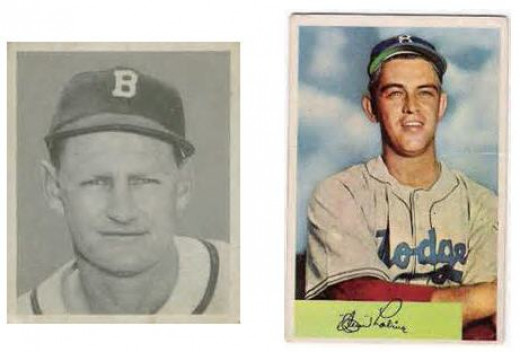 1948 Bowman #1 Bill Elliott and 1954 Bowman Clem Labine - I'll trade like this anytime