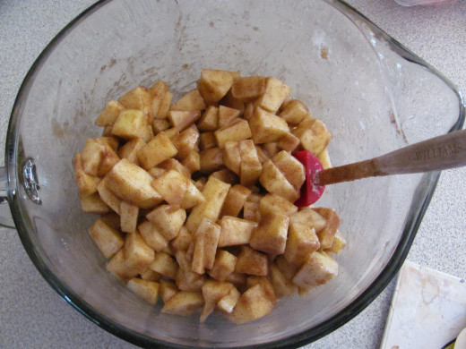 chopped apples for filling