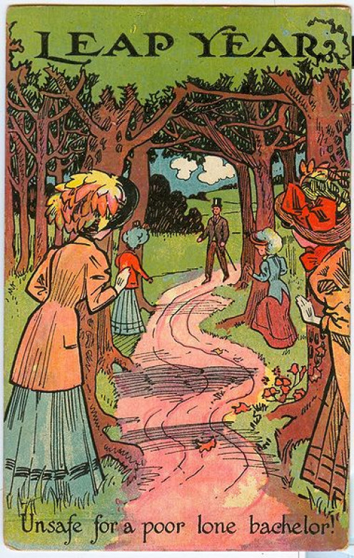 "1908 Leap Year postcard shows a bachelor walking along a path with numerous women lying in wait. ""Leap Year unsafe for a poor lone bachelor!"""