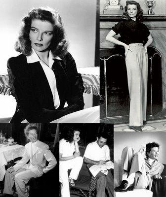 Katherine Hepburn, one of the original seductive tomboys, made pants for women a regular choice.