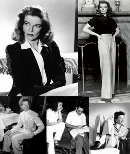 Katherine Hepburn, one of the original seductive tomboys, made pants for women a regular choice.